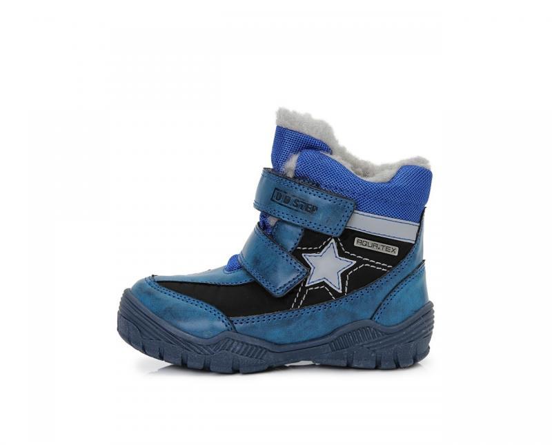 eb76b0ab9 D.D.step modré mix chlapčenské VODEODOĽNÉ THERMO kožušinové vysoké detské  topánky na suchý zips 30-