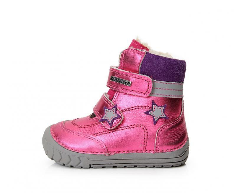 D.D.step ružovo fialové detské topánky s kožušinkou na suchý zips 19-24 pre  dievčatá 1dd6ecfdce4