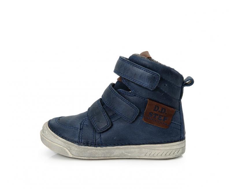 81ccd827a3b8 D.D.Step tmavomodré vysoké kožušinové topánky pre chlapcov na suchý zips  31-36