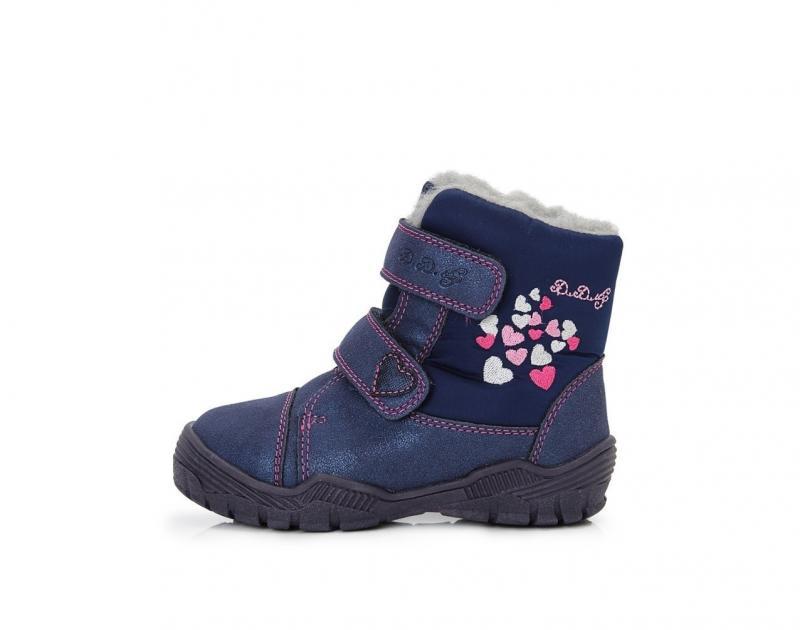 a37fce1e6 D.D.step modré dievčenské VODOTESNÉ-THERMO detské topánky s kožušinou so  suchým zipsom 24-