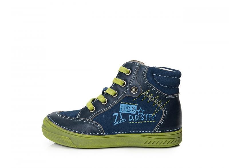d901ae1f0004 D.D.step chlapčenské sivo-modré členkové šnurovacie detské topánky so zipsom  na boku 25-