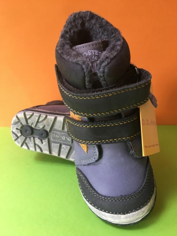 e320c3e69ff54 ... D.D.step modročierne zimné vysoké detské topánky s kožusinou na suchý  zips 19-24