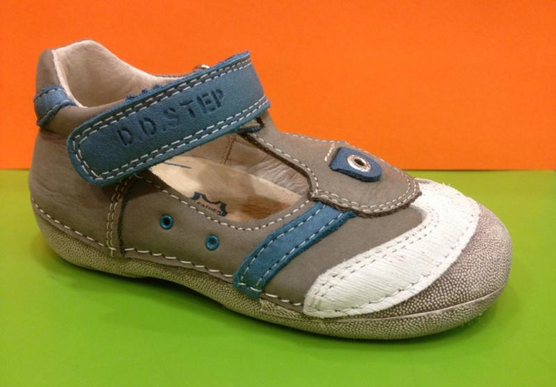 7ffd3cc1c886d D.D.STEP chlapčenské modrošedé detské topánky na suchý zips 19-24 ...