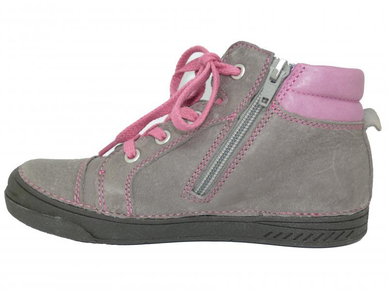 9c670db57ba36 ... D.D.step sivo ružové šnurovacie detské topánky vysoké 31-36 na boku na  zips